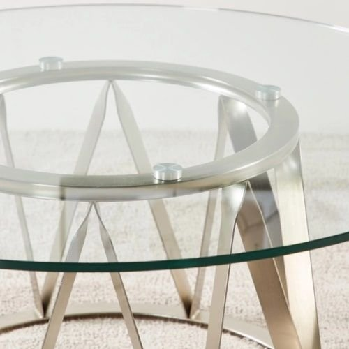 Vector Coffee Table with Glass Top, Metal Legs, Silver
