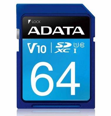 ADATA Premier SD Card, SD Size, 64GB Capacity, 100MB Speed