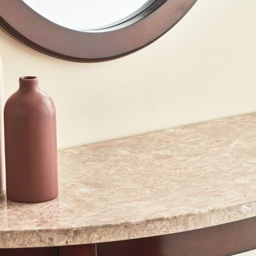 Oxville Console Table with Marble Top and Mirror, Brown