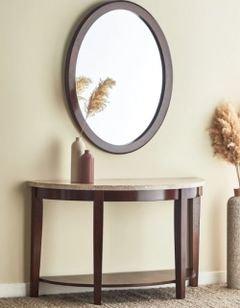 طاولة كونسول بسطح رخام ومرآة من أوكسفيل، لون بني