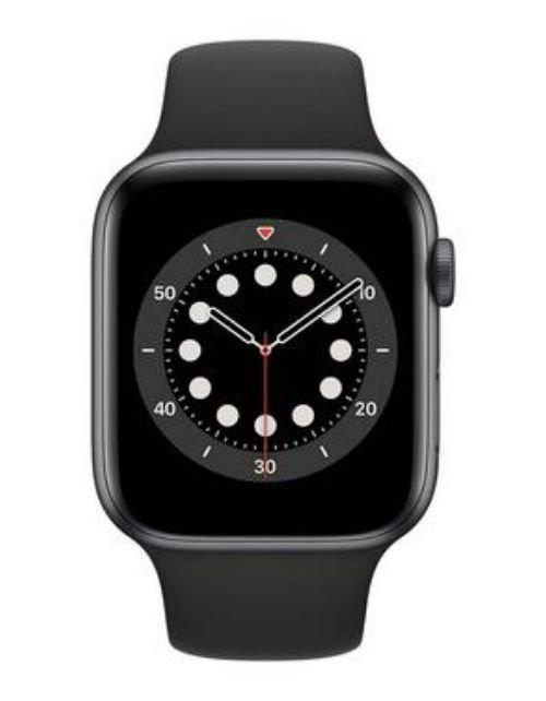 ساعة آبل 6 الذكية 44 ملم، شاشة 1.7 بوصة، GPS، هيكل ألمنيوم رمادي، سوار أسود
