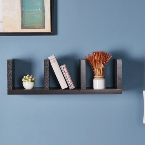 Sion Wooden Shelf with Three Sections, Dark Brown
