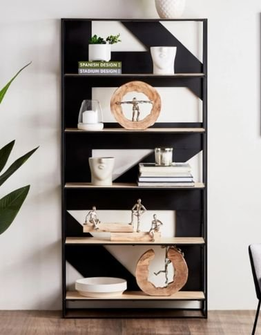 Arrow Wooden Bookcase, Black