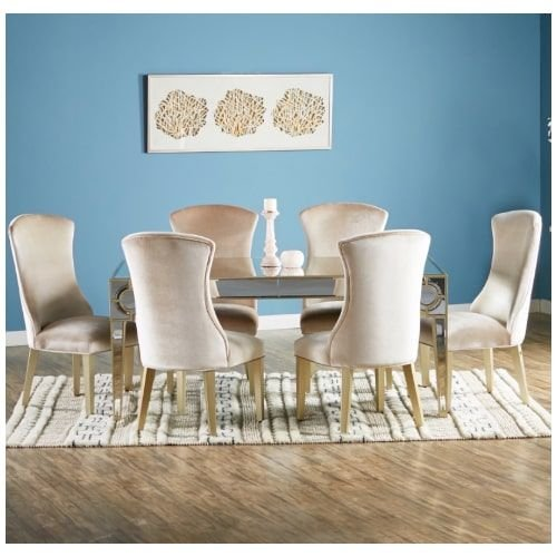 Mystique Dining Room Set, 6-chairs Mirrored Table, Silver