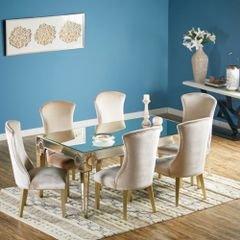 طقم غرفة طعام من ميستيك، طاولة سفرة بسطح عاكس 6 مقاعد، فضي