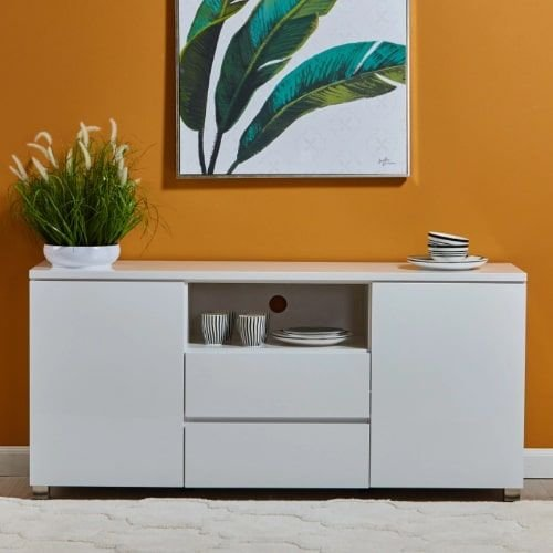 Norden Buffet with 2 Doors and 2 Drawers Cabinets, White