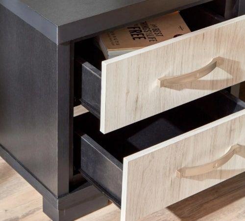 طاولة سرير جانبية بدرجين من إليمينتس، أسود/بيج