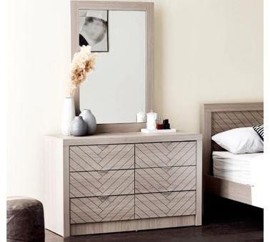 طاولة تزيين من فانس، 6 أدراج ومرآة، لون بني فاتح