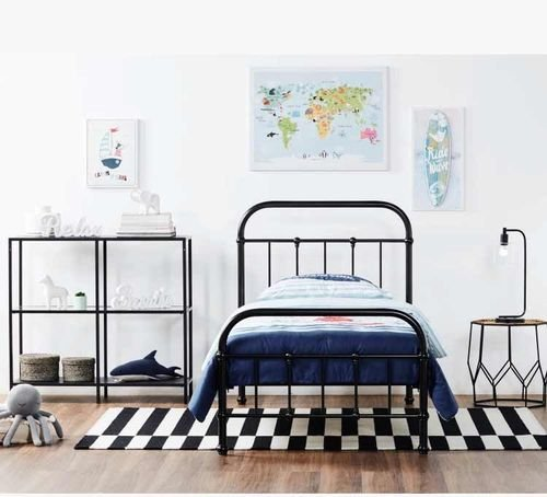 سرير فردي للأطفال من ترافيس، معدني، 200x90 سم، لون أسود