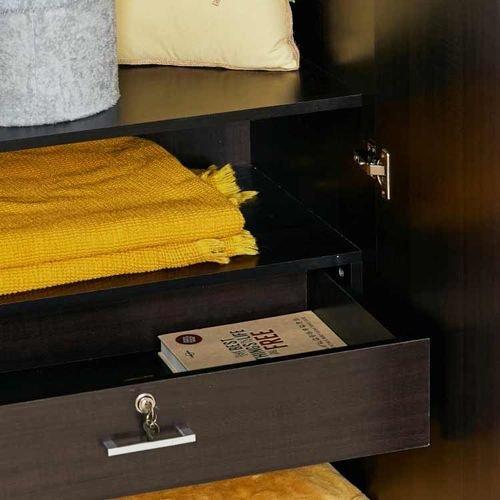 خزانة ملابس أطفال من كاميليا، خشب صناعي، بابين، مع مرآة، لون بني