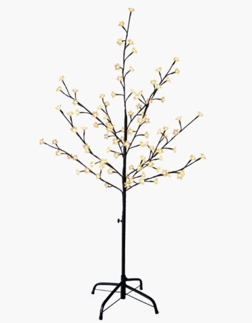 شجرة بإضاءة أل إي دي من بلوسوم، 100 لمبة على شكل أزهار، لون أسود