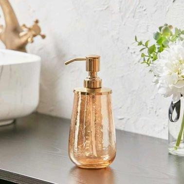 موزّع صابون للحمام من شيمر، زجاج، لون ذهبي