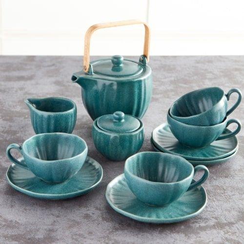 طقم شاي 11 قطعة من دانسينج لوتس، ابريق بسعة 1050 مل، لون أخضر