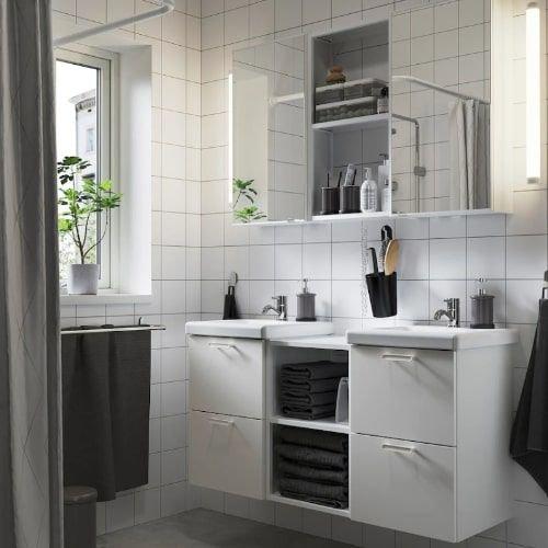 طقم حمام من ايكيا، 22 قطعة، ENHET / TVÄLLEN