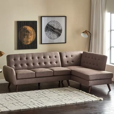 Montrey Corner Sofa with Right Armrest, 4 Seater, Brown