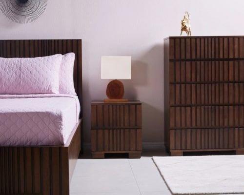 طقم غرفة نوم 5 قطع من هافانا، كينج 180x210 سم، لون جوزي