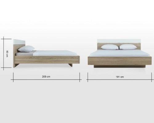 طقم غرفة نوم من دابلن، 4 قطع، قياس كينج 200×180 سم، أبيض/بلوطي رمادي