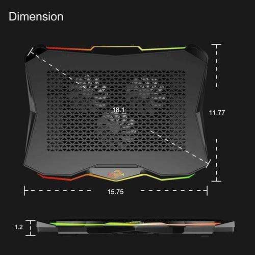 منصة تبريد لابتوب AICHESON ، ثلاث مراوح، أضواء RGB، ارتفاع قابل للتعديل