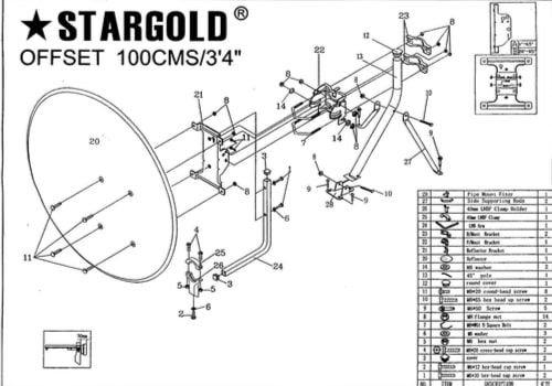 طبق ستلايت ستارجولد SG مقاس 100 سم، نطاق Ku كسب الإشارة 12.5 جيجاهرتز، مع حامل